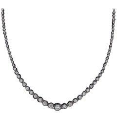 6 Carat Diamond Riviera Necklace Round Brilliant White Gold Tennis