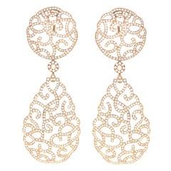 6 Carat Diamonds Rose 18K Gold Chandelier Earrings, 2000