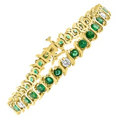 6 Carat Emerald & 1.5 Carat Diamond Tennis Bracelet 14 Karat Yellow Gold S-Shape