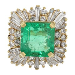 6 Carat Emerald and Diamond Ballerina Ring