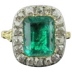 6 Carat Emerald and Diamond Ring, Silver on 14 Karat Gold, circa 1880