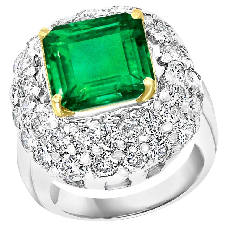 6 Carat Emerald Cut Colombian Emerald and 4 Carat Diamond Ring Platinum Two-Tone For Sale