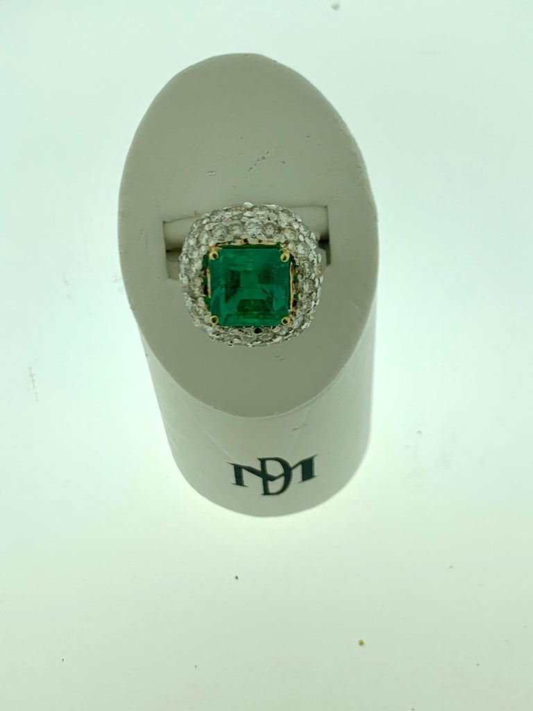 6 Carat Emerald Cut Colombian Emerald and 4 Carat Diamond Ring Platinum Two-Tone For Sale 6