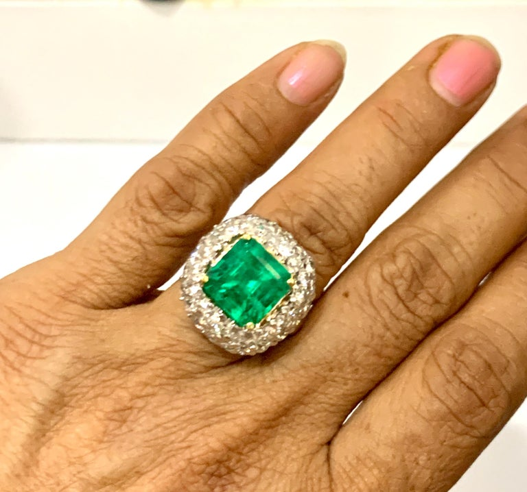 6 Carat Emerald Cut Colombian Emerald and 4 Carat Diamond Ring Platinum Two-Tone For Sale 9