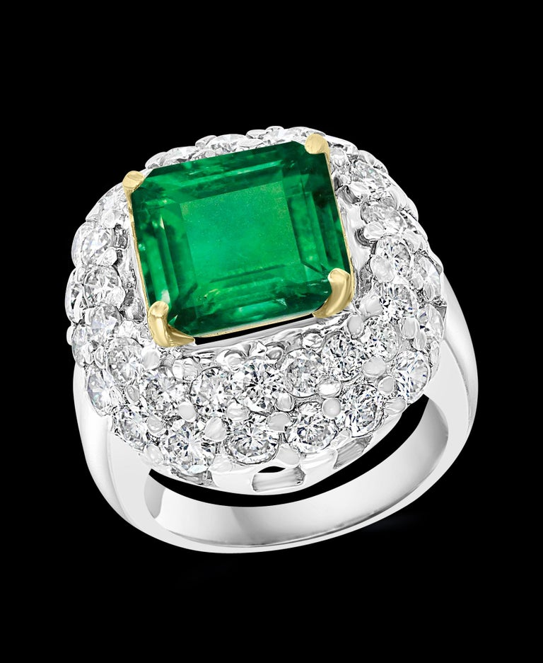 6 Carat Emerald Cut Colombian Emerald and 4 Carat Diamond Ring Platinum Two-Tone For Sale 3