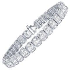 6 Carat Emerald Cut Tennis Bracelet 18K