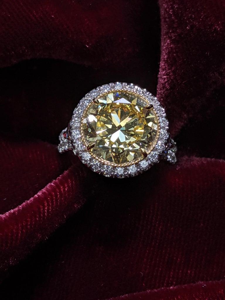 Round Cut 6 Carat Fancy Intense Yellow Round Diamond VS2 'GIA' in Platinum Ring For Sale