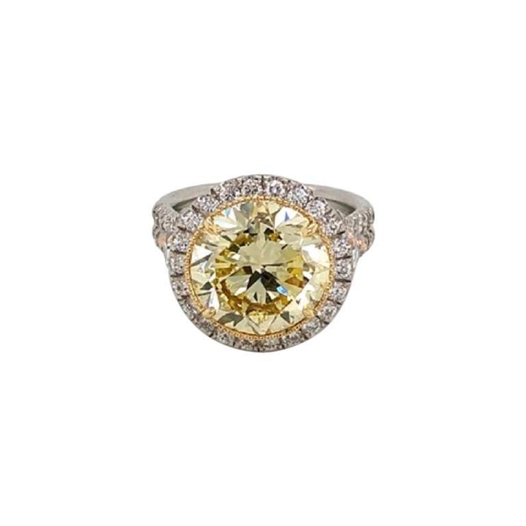 6 Carat Fancy Intense Yellow Round Diamond VS2 'GIA' in Platinum Ring For Sale