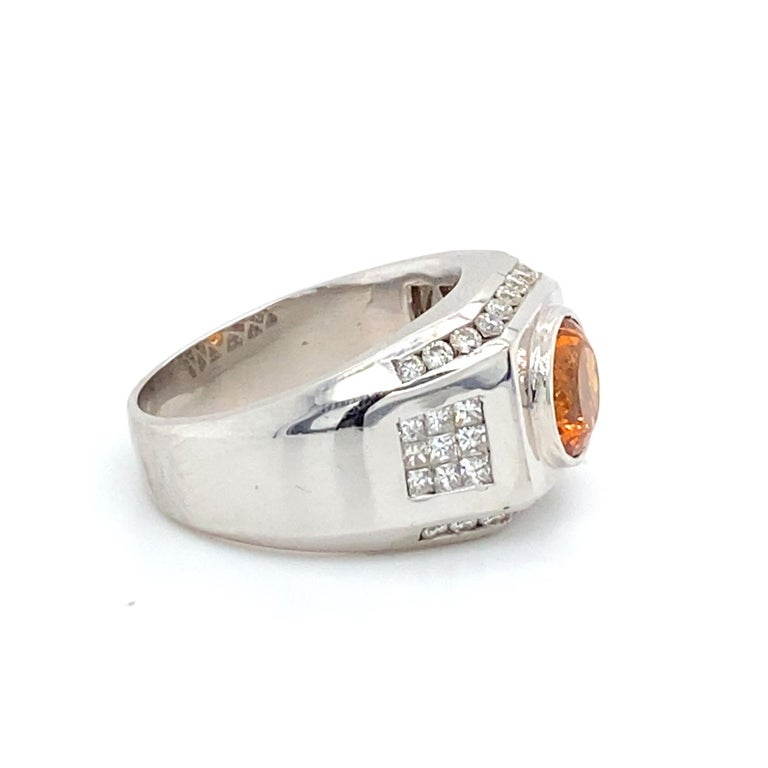 Men's 6 Carat Garnet Ring with 2.40 Carats of Diamonds For Sale