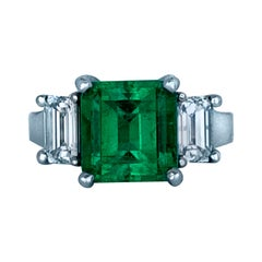 6 Carat GIA Certified Emerald and Diamond Ring