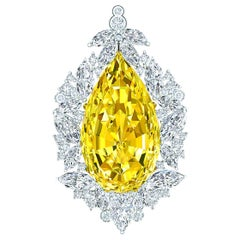 Timeless, GIA Fancy Yellow Pear Diamond, Platinum VS Pendant