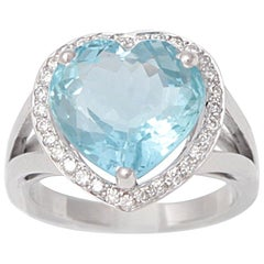 6 Carat Heart Shaped Aquamarine Diamonds 18 Karat White Gold Ring