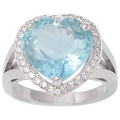 6 Carat Heart Shaped Aquamarine Diamonds 18 Karat White Gold Ring