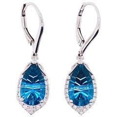 6 Carat London Blue Topaz & Diamond Earring Dangles 14 Karat Gold Topaz Earring