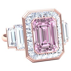 6 Carat Morganite and Diamond Rose Gold Ring