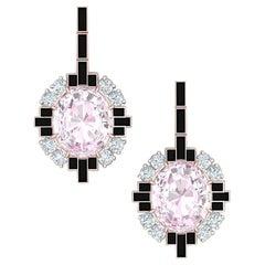 6 Carat Morganite Onyx and Diamond Rose Gold Dangle Drop Earrings