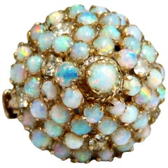 6 Carat Natural Australian Opal Ring 14kt Cluster Pyramid Dome Vintage Original