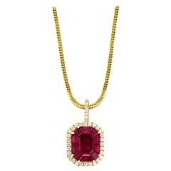 6 Carat Natural Burma Ruby and Diamond Pendant in 18 Karat + Yellow Gold Chain