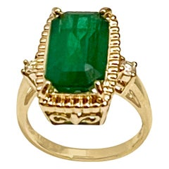 6 Carat Natural Emerald Cut Zambian Emerald & Diamond Ring 14 K Yellow Gold