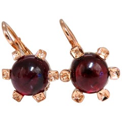 6 Carat Natural Garnet Clip Earrings 14 Karat European