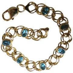 6 Carat Natural Swiss Blue Topaz Bracelet 14 Karat Vintage Deco