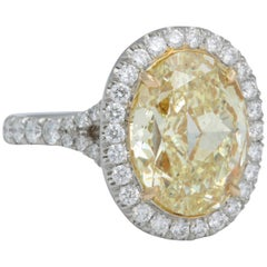 6 Carat Oval Fancy Yellow Diamond Ring GIA Certified