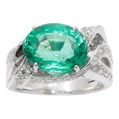 6 Carat Paraiba Tourmaline Diamonds 18 Karat White Gold Cocktail Ring