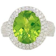 6 Carat Peridot & Diamond Double Halo Ring 14K White Gold Oval Peridot Pave Dia