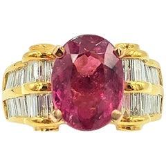 6 Carat Pink Tourmaline Ring with Diamonds