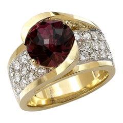 6 Carat Rhodolite and Diamond Ring, 14 Karat Gold, Ben Dannie