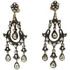 6 Carat Rose Cut Diamond Antique Style Chandelier Earrings in 18 Karat Gold
