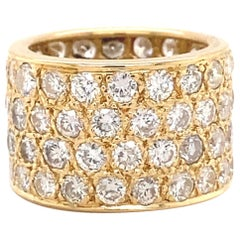 6 Carat Round Diamond Four-Row Eternity Band Ring in 14 Karat Yellow Gold
