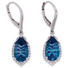 6 Carat Royal Blue Topaz and Diamond Earring Dangles 14 Karat Gold London Blue
