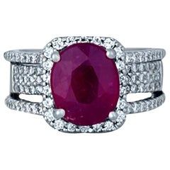 6 Carat Ruby and Diamond Ring