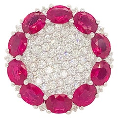 6 Carat Ruby Diamond Cocktail Ring 18K White Gold Circle of Ruby Pave Diamond