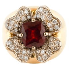 6 Carat Ruby, White Diamonds, Flower Shape, 18 Karat Gold Cluster/Cocktail Ring