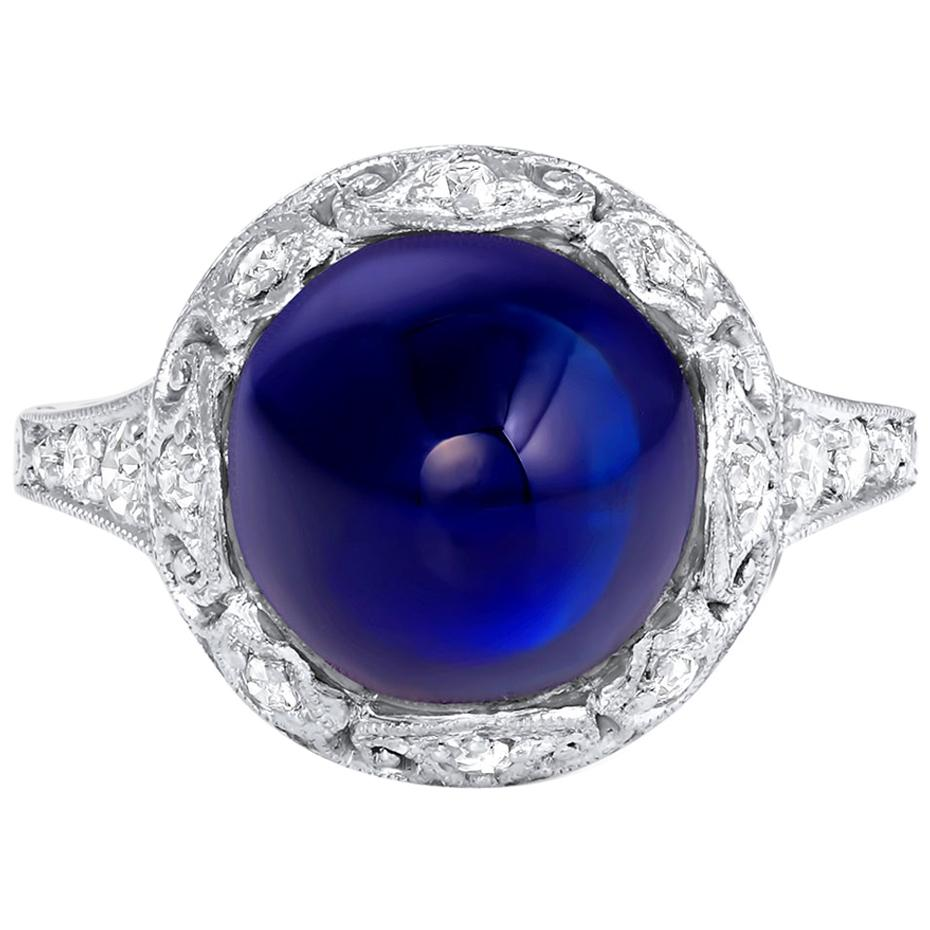 Antique Unheated 6 Carat Sugar Loaf Cabochon Sapphire Ring