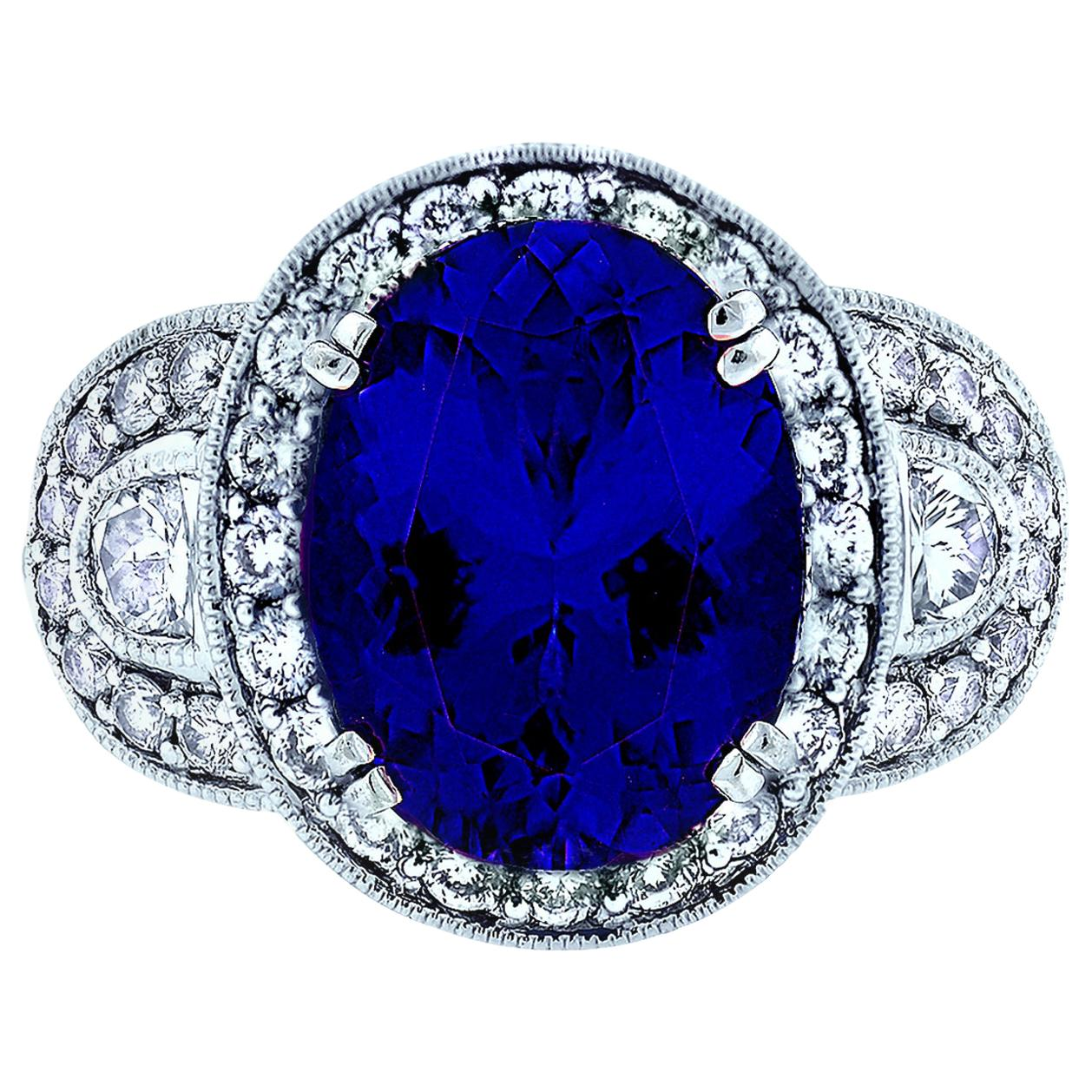 6 Carat Tanzanite and Diamond Ring