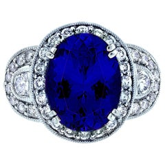 6 Carat Tanzanite and Diamond Ring