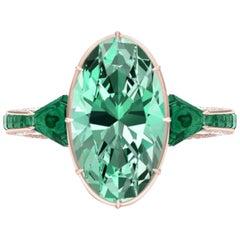 6 Carat Tourmaline, Malachite and Diamond Rose Gold, Platinum Cocktail Ring