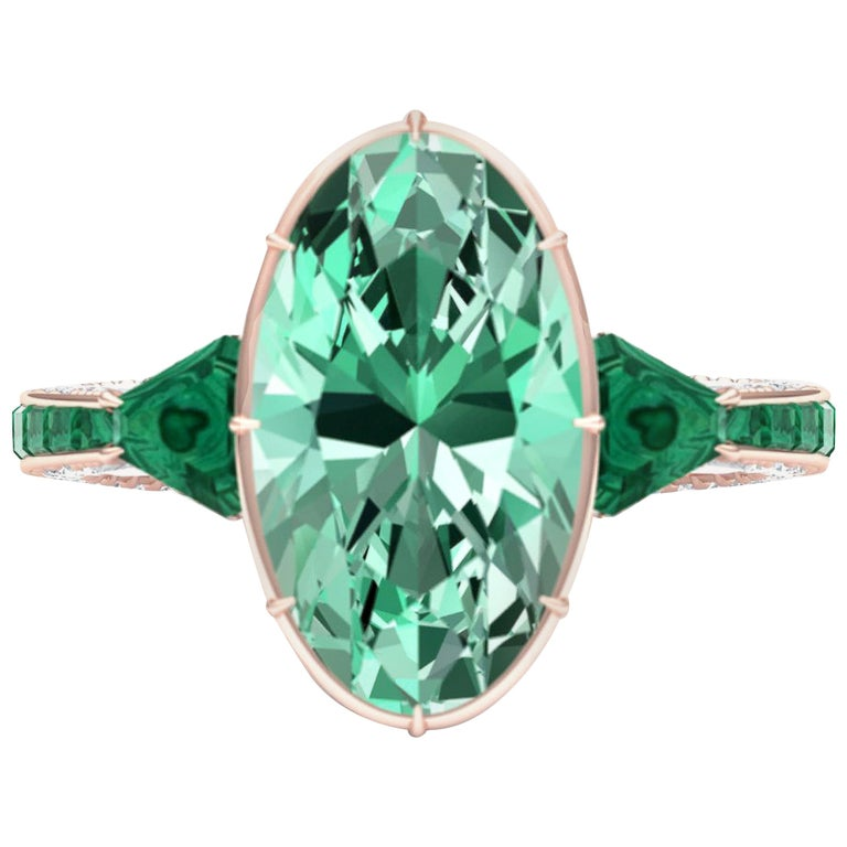 6 Carat Tourmaline, Malachite and Diamond Rose Gold, Platinum Cocktail Ring For Sale