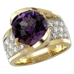 6 Carat Tw Amethyst and Diamond Ring, 14 Karat Gold, Ben Dannie