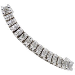 6 Carat Two-Row Princess Cut Diamond Bracelet