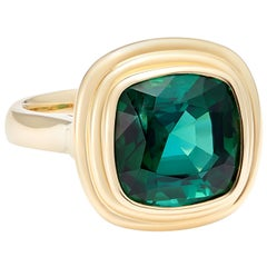6 Carat Vivid Tourmaline Set in 18 Karat Yellow Gold Cocktail Ring
