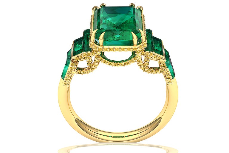 Modern 6 Carat GIA Certified Emerald and Yellow Diamond Ring For Sale