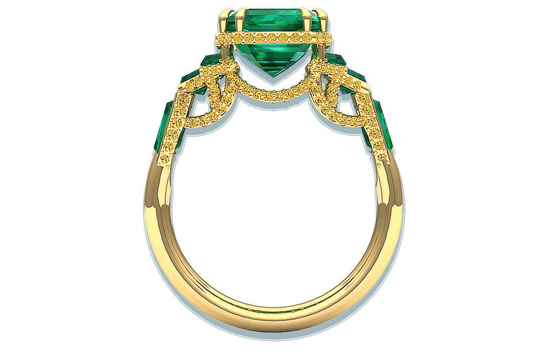 Emerald Cut 6 Carat GIA Certified Emerald and Yellow Diamond Ring For Sale