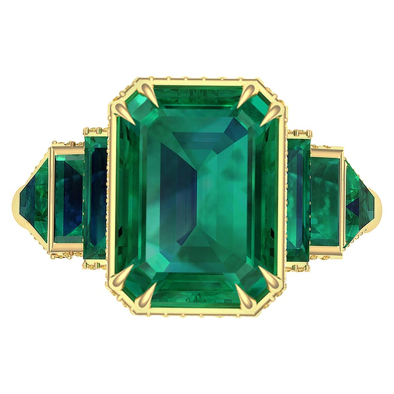 6 Carat GIA Certified Emerald and Yellow Diamond Ring For Sale