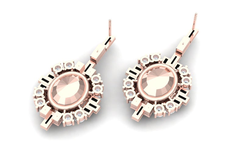 Oval Cut 6 Carat Morganite Onyx and Diamond Rose Gold Dangle Drop Earrings For Sale