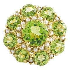 6 Carat Peridots and Pearls 18 Carat Yellow Gold Cocktail Ring