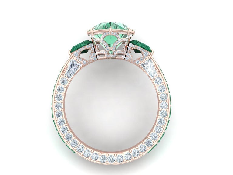 Oval Cut 6 Carat Tourmaline, Malachite and Diamond Rose Gold, Platinum Cocktail Ring For Sale